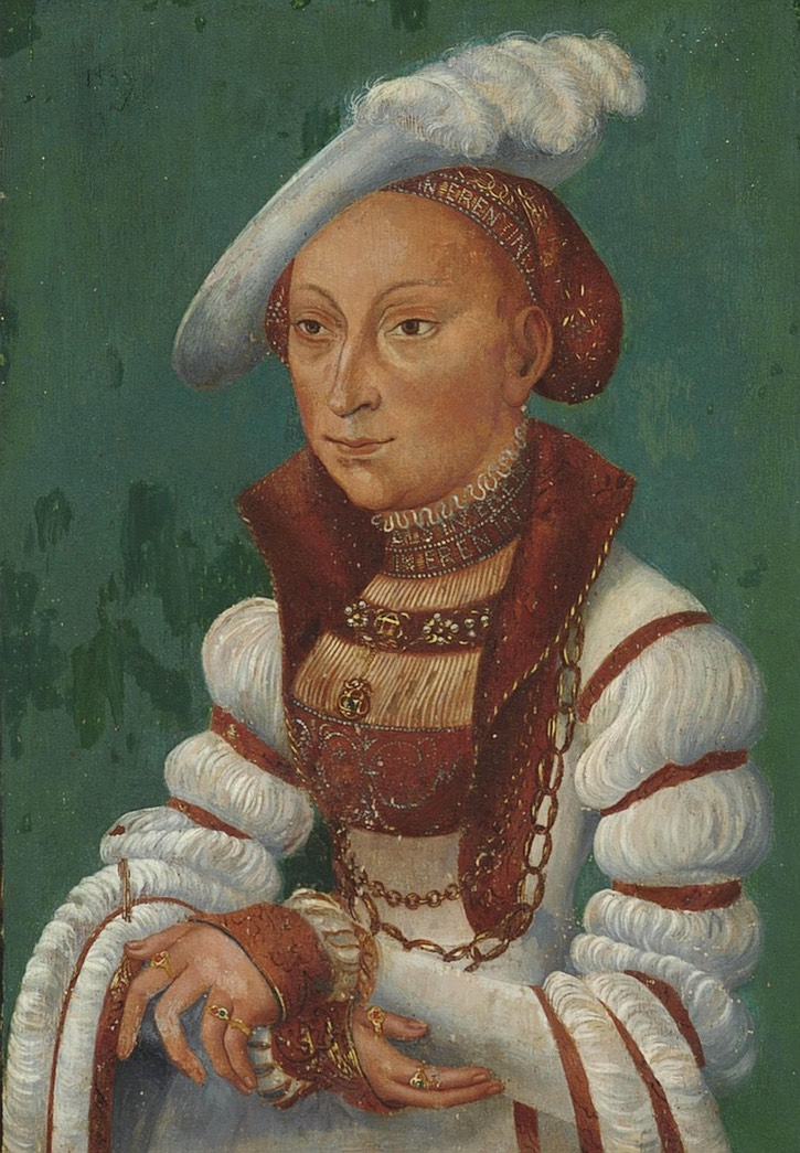 1520s Presumed Sybille von Cleves, Duchess of Saxony by follower of Lucas Cranach the Elder (auctioned by Christie's) From pinterest.com/jillwheezul/cranach-dresses/.jpg