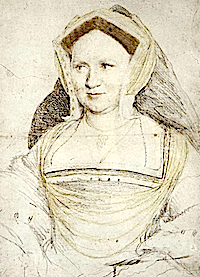 1527ca. Lady Mary Guildford  by Hans Holbein the Younger (Kupferstichkabinett, Öffentliche Kunstsammlung, Basle)