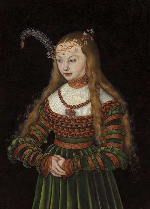 1528 Sybille of Cleves by Lucas Cranach the Elder (auctioned by Christie's) From jeannedepompadour.blogspot.com/2013/04/german-style-from-1468-1588.html X 1.5 fixed l. u. and r. edges