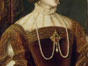 1548 Empress Isabel by Titian (Prado) bodice, partlet, and necklace