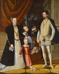 1563 Holy Roman Emperor Maximilian II of Austria and his wife Infanta Maria of Spain with their children by Giuseppe Arcimboldi (Schloß Ambras - Innsbruck, Tirol, Austria) size fixed at 45 cm high at 70 pixels:cm