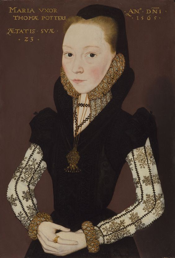 1565 Mary Potter, née Tichborne b. 1541 by Master of the Countess of Warwick (sold by Philip Mould) From pinterest.com:lb3038:historic-embroidery-in-paintings:blackwork: