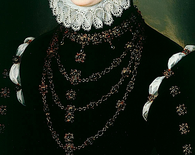 1570 Madeleine le Clerc du Tremblay by Clouet (Weiss Gallery, sold - current location unknown to gogm) necklaces