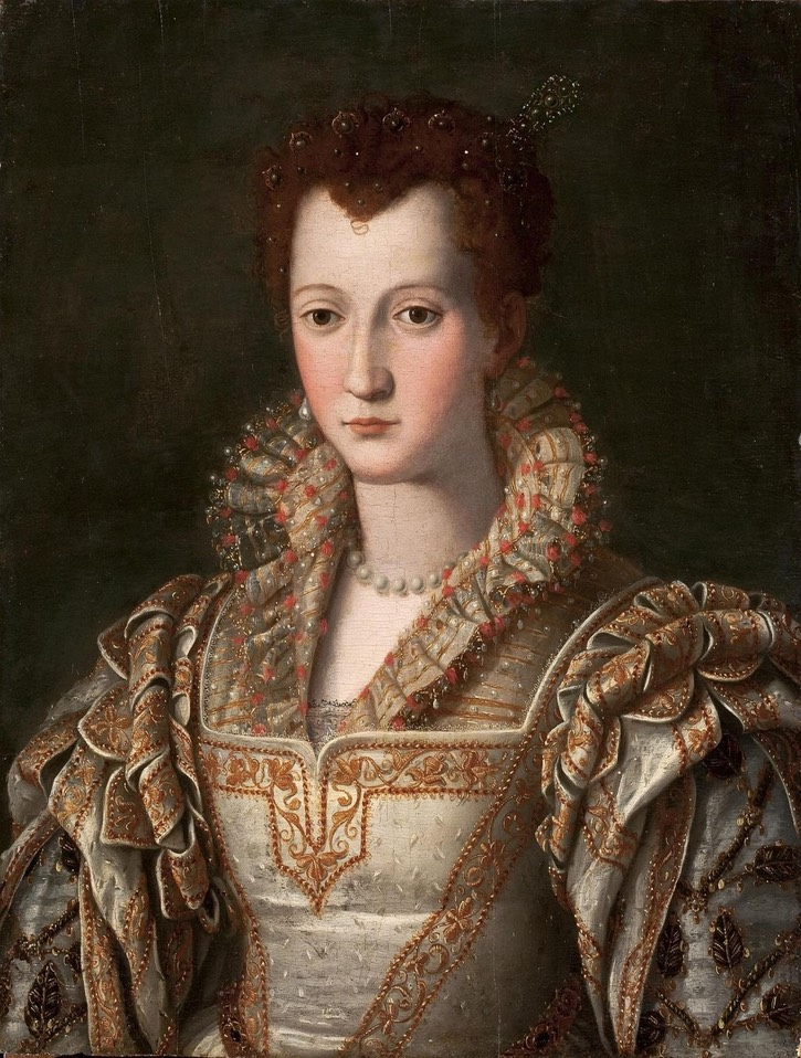 1571 -1576 (between) Eleonora (Dianora) of Toledo (Medici) by a worker in the Alessandro Allori studio (State Hermitage Museum - St. Petersburg Russia) UPGRADE From pinterest.com:angelamackert:d-medici: