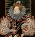 ca. 1588 Portrait of Queen Elizabeth, a variation of the Armada portrait, by George Gower (Philip Mould)