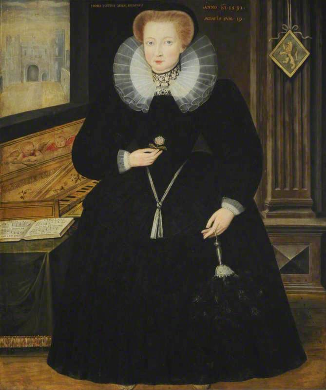 1591 Lady Grace Talbot (1562–after 1625), daughter-in-law of Bess of Hardwick, Mrs. Henry Cavendish by George Gower (Hardwick Hall - Doe Lea, Chesterfield, Derbyshire, UK) From bbc.co shadows