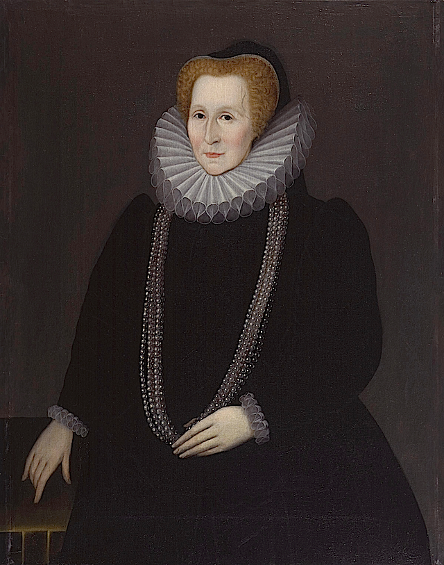 1592 Bess Hardwicke,Countess of Shrewsbury by ? (National Portrait Gallery - London UK) From nthardwick.files.wordpress.com:2012:02:bess-of-hardwick-old1