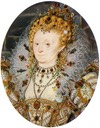 1595-1600 Elizabeth by Nicholas Hilliard (Victoria and Albert Museum) jeweled lace ruff