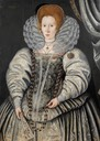 1595 Lady traditionally called Elizabeth Throckmorton by circle of Marcus Gheeraerts the Younger (actually William Segar) (auctioned by Bonhams) Wm