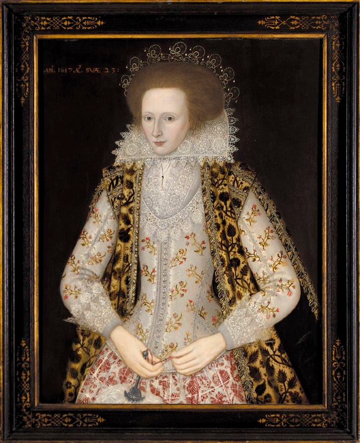 1617 Elizabeth Honeywood age 23 years by circle of  William Larkin (auctioned by Sotheby's) From