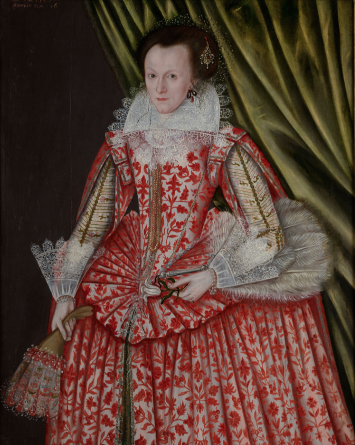 1617 Lady wearing a Red Dress by English ? (on sale by Philip Mould) From Philip Mould Web site