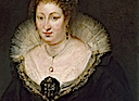 1620 Lady Alethea Talbot, Countess of Arundel by Peter Paul Rubens (Museu Nacional d'Art de Catalunya - Barcelona, Catalonia Spain) necklines, partlet, tabbed sleeves, religious bodice ornament, and upper part of draped jeweled bodice ornament