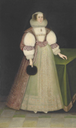 1630 Mary, Lady Offley, full-length, in a white embroidered dress, pink and gold embroidered overcoat, lace ruff and headdress, holding a fan in her right hand by ? (auctioned by Christie's)