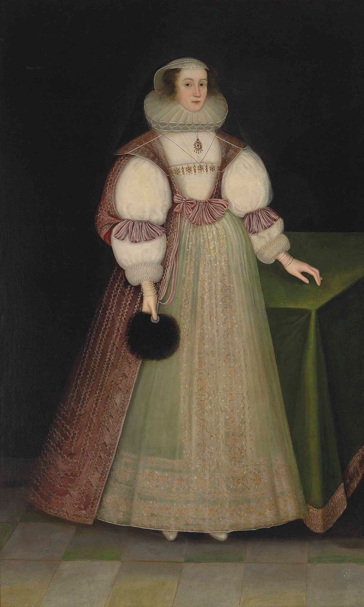 1630 Anne, called Mary, Lady Offley, full-length, in a white embroidered dress, pink and gold embroidered overcoat, lace ruff and headdress, holding a fan in her right hand by ? (auctioned by Christie's) UPGRADE From the Christie's Web site)