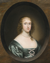 1636 Lady Bowyer, half length, wearing a green dress with ribbons and a pearl necklace, in a sculpted cartouche by Cornelius Johnson (auctioned by Sotheby's) From the Sotheby's Web site