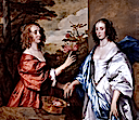 ca. 1640 Cheek Sisters; Essex Countess of Manchester (d.1658) and Anne Lady Rich (d. before 1658) by Sir Anthonis van Dyck (private collection)