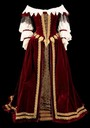 1650 Gold-trimmed maroon abito