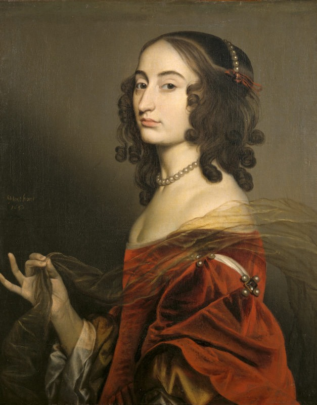 1650 Louise Hollandine, Princess Palatine, second daughter of Elizabeth of Bohemia, by Gerard van Honthorst (Ashdown House - Ashbury, Oxfordshire UK) Photo - Derrick E. Witty from nttreasurehunt.wordpress.com