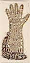 1650 Bobbin lace glove conventional plant form Brides connect with outline of glove. Double ruffle along top and half one side of glove. Remains of faded stiff pink ribbon bow trimming (Museum of Fine Arts - Boston, Massachusetts USA)
