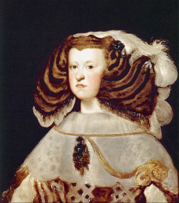 1655-1657 Mariana of Austria, Queen Of Spain by Diego Velazquez (Museo Thyssen-Bornemisza - Madrid, Spain) From wikiart.org