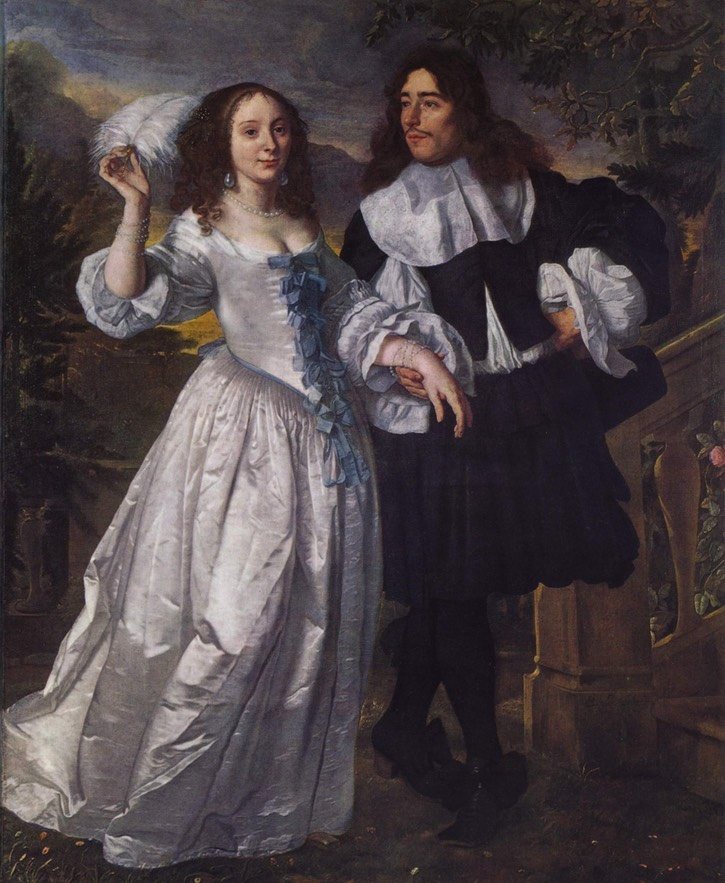 1660-1661 Couple by Bartholomeus van der Helst (Staatliche Kunsthalle Karlsruhe - Karlsruhe, Baden-Württemberg, Germany) From thedreamstress.com/costume-portfolio/portfolio-a-1660s-dress-for-ninon-de-l'enclos