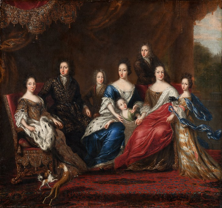 1691 Charles XI's family with relatives from the Duchy Holstein-Gottorp by David Klöcker Ehrenstrahl (Livrustkammaren - Stockholm Sweden) Wm
