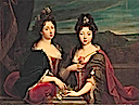 1693 Marie de Lorraine (1674-1724) and her sister Charlotte de Lorraine (1678-1757) by Nicolas Fouché (auctioned by Christie's)