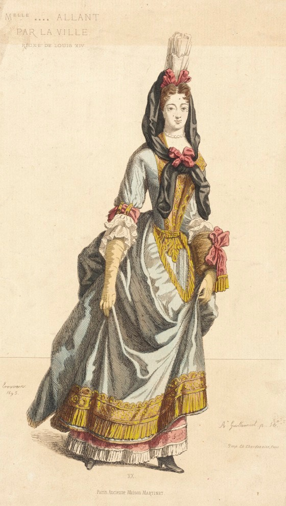 1695 Fashion Plate (Melle Allant Par La Ville) by ? (Los Angeles County Museum of Art - Los Angeles California, USA) From the museum's Web site