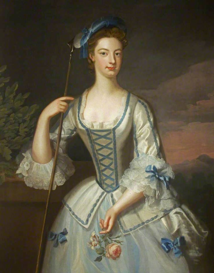 1725 Lady Rachel Cavendish (1697–1780), Lady Morgan, as a Shepherdess by Enoch Seeman the younger (Tredegar House - Newport, Monmouthshire, UK) filled in shadows