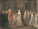 1729 King of Saxony and Poland visited Berlin, seen here with the Prussian royal family in the city-palace by Antoine Pesne (Schloß Charlottenburg, Berlin)