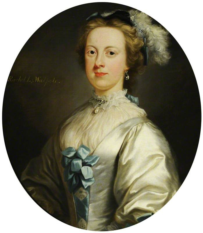 1743-1745 Lady Rachel Cavendish (1727–1805), wife of Horatio Walpole, 1st Earl of Orford, Countess of Orford attributed to Jeremiah Davison (Hardwick Hall - Doe Lea, Chesterfield, Derbyshire, UK) bbc.co