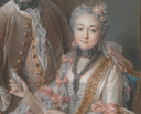1743 François de Jullienne and his wife Marie Élisabeth (née de Séré de Rieux) by Charles Antoine Coypel (Metropolitan Museum of Art - New York City, New York USA) coiffure, bodice, and lace