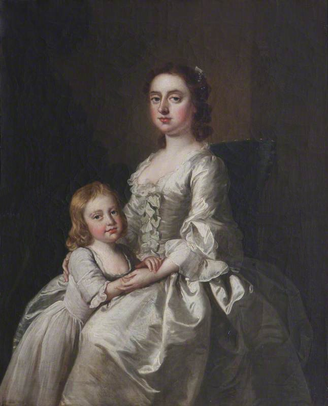 1748 Etheldred Payne (1720–1775), Lady Cust, and Her Son Brownlow Cust (1744–1807), Later Sir Brownlow Cust, 1st Baron Brownlow attributed to Thomas Hudson (Belton House - Grantham, Lincolnshire, UK) From artuk.org deflaw
