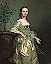 1751 Lady, said to be Isabella Courtenay, Mrs. Andrews standing three-quarter length, wearing a yellow satin dress with a blue bow and wrap, beside an orange tree by Thomas Hudson (auctioned by Christie's)