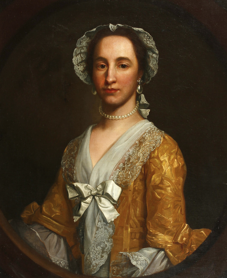 1753 Johanna Warner, half-length, in a yellow dress and bonnet by Francis Milner Newton (auctioned by Bonhams) From Bonhams