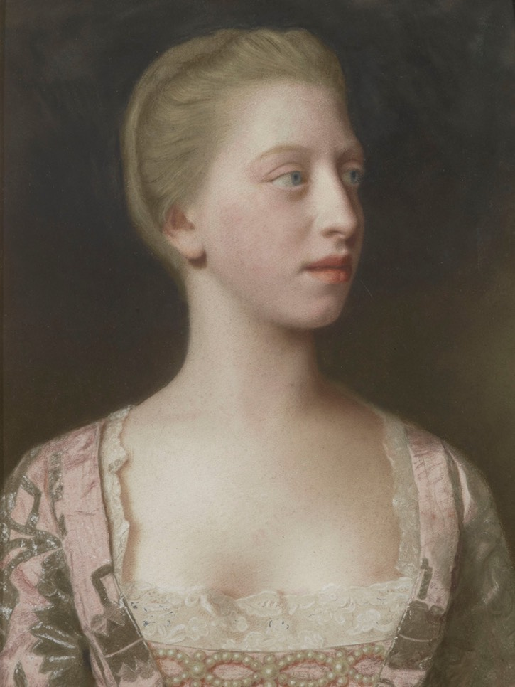 1754 Princess Augusta of Great Britain (1737-1813), later Duchess of Brunswick by Jean-Étienne Liotard (Royal Collection) Wm