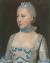 1757 Madame Saint Pol, half-length, in a light blue gown trimmed with blue silk bows and white lace by Jean Étieenne Liotard (auctioned by Christie's) full