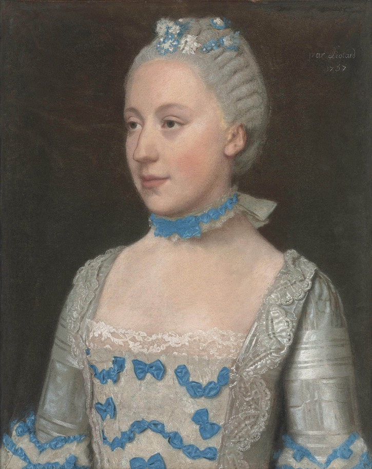 1757 Madame Saint Pol, half-length, in a light blue gown trimmed with blue silk bows and white lace by Jean Étienne Liotard (location ?) Wm despot deflaw background