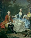 1760s early (probably) Count Giacomo Durazzo in the guise of a huntsman, with his wife (Ernestine Aloisia Ungnad von Weissenwolff) by Martin van Meytens the Younger (Metropolitan Museum - New York City, New York USA)