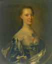 1763 Susanna Dacre, half-length, wearing a blue satin dress with blue ribbons by circle of Thomas Hudson (auctioned by Bonhams)