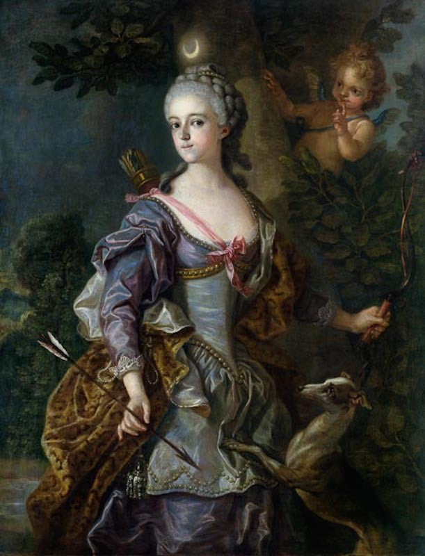 1765 Luise Henriette Wilhelmine von Anhalt-Dessau as Diana by Charles van Loo (location unknown to gogm) From jeannedepompadour.blogspot.com:2012:04:portraits-first-portraits-of