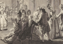 1774 Le Bal Paré by Antoine-Jean Duclos (French, Paris, 1742–1795) Etching after Augustin de Saint-Aubin (Metropolitan Museum of Art - New York City, New York USA) right group