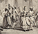 1774 Le Bal Paré by Antoine Jean Duclos (French, Paris, 1742–1795) Etching after Augustin de Saint-Aubin (Metropolitan Museum of Art - New York City, New York USA) center group