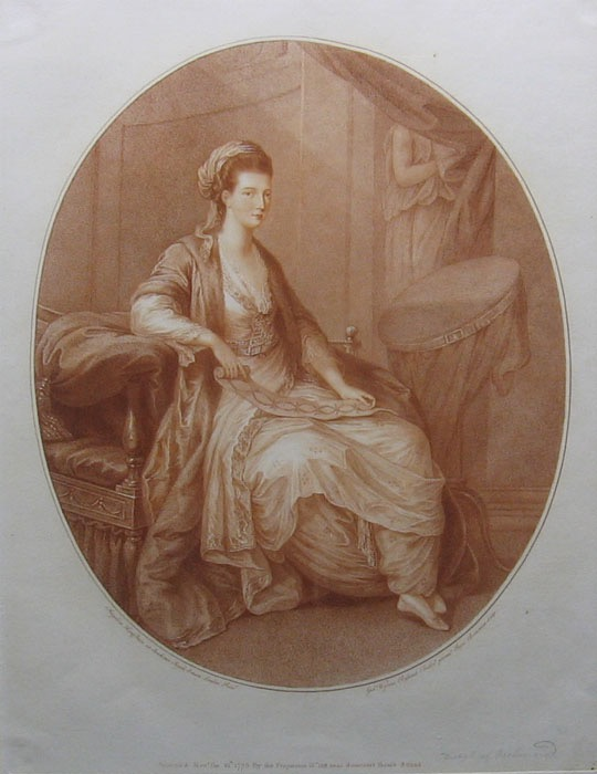 1775 Mary, née Bruce, Duchess of Richmond stipple engraving after Angelica Kauffman Wm