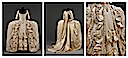 1775-1780 British court dress (Victoria & Albert Museum - London UK) front, back, and ornament detail