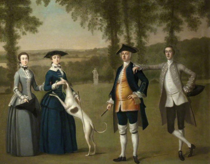 1777 (estimate based on age of son) Sir John Trevelyan, 4th Bt., with wife Louisa Simond, his son John Trevelyan and daughter Helena in style of Arthur Devis (Wallington)