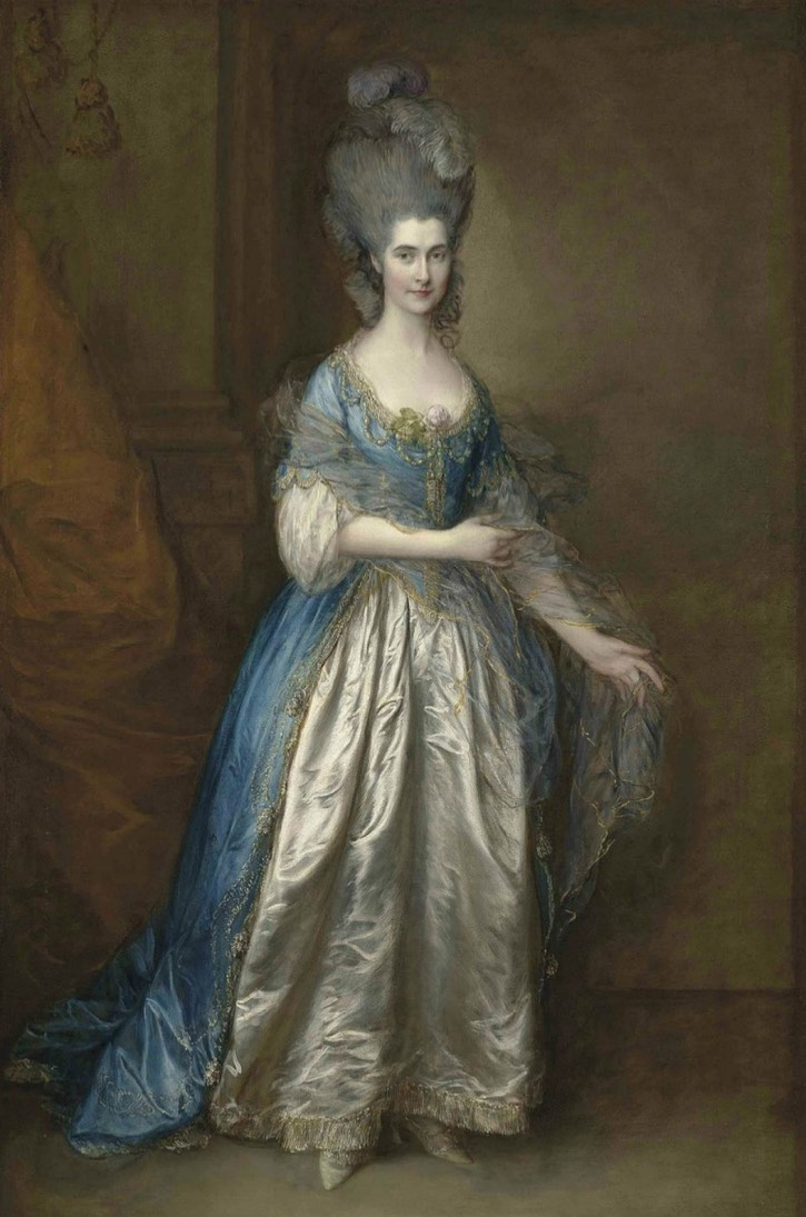 1777 Mrs. William Villebois, full-length, in masquerade dress, with a blue gown and a lace-edged satin skirt, holding a diaphanous wrap by Sir Thomas Gainsborough (auctioned by Christie's)