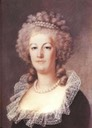 1779 Marie Antoinette wearing dark dress with lace bertha by Elisabeth-Louise Vigee-Lebrun
