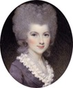 1780 Lavinia, Countess Spencer, née Bingham (1762-1831), in mauve dress with white frilled collar, powdered upswept hair by Samuel Shelley (auctioned by Christie's)
