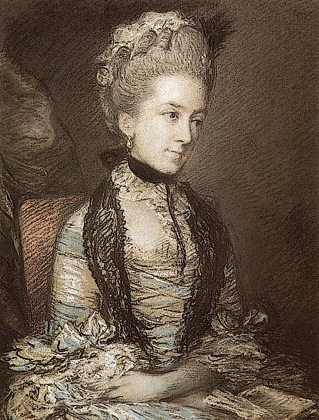 ca. 1770 (estimate based on coiffure, as noted) Caroline, 4th Duchess of Marlborough by Thomas Gainsborough (private collection) from www.pastellists.com:images:Gainsborough Mould has bio